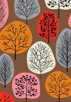 Fall: cut ovals from autumn colored construction paper; glue onto 12 x 12 paper; add fine point sharpie details (be sure to make trunk extend beyond colored ovals) & pencil eraser dipped in black paint or q-tip stamped leaves on some trees.