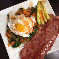 Breakfast was bomb  Sweet potato and spinach hash, with a poached egg, applegate turkey bacon, avocado and red hot Had this after my post workout protein shake... Mean green #greenJuice going down soon too! I'm HANGRY lol https://www.facebook.com/TeamJERF