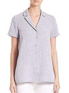 Lafayette 148 New York Paula Short-Sleeve Linen Blouse - Grey - Size