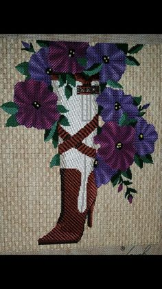 Nice directional stitches on boot, Leigh needlepoint canvas