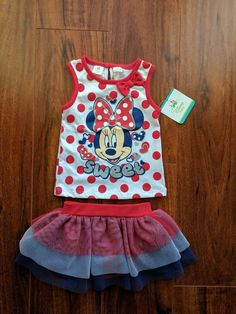 NWT Minnie Disney Patriotic 4th of July Sleeveless Top and Skirt 6-9 Months  | eBay