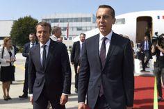 Emmanuel Macron et Christian Kern Brigitte Macron, Suit Jacket, Breast, Christian, Suits, Jackets, Salzburg, Austria, Down Jackets