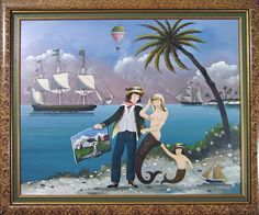 "A Ralph Cahoon Painting of a Sailor holding a Cape Cod Painting with Mermaid and Girl, signed L.R. ""R. Cahoon"""
