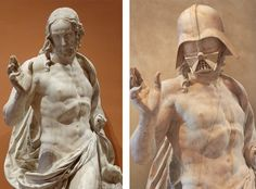 "Germain Pilon ""The Resurrection"" (c. 1572) from the Louvre, crossed with Darth Vader from Star Wars, by French artist Travis Durden - click through to see more matches and a challenge to match the rest of the series."
