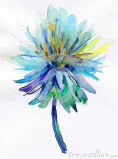 Blue watercolor flower by Olesia Lishaeva, via Dreamstime