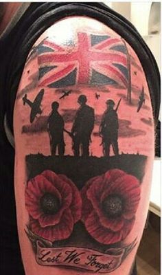 Remembrance day tattoo by Lauren Gow # . Army Tattoos, Military Tattoos, Dad Tattoos, Sleeve Tattoos, Remembrance Tattoos, Memorial Tattoos, Remembrance Poppy, Jack Tattoo, Tattoo Uk