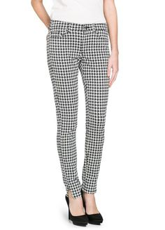Trousers - Slim-fit houndstooth trousers
