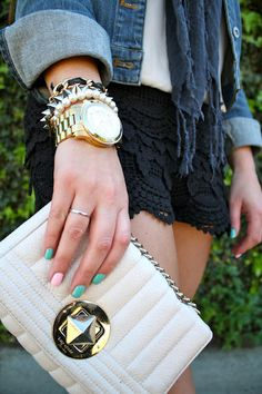 Love this combination! {lace shorts + pastel nails = Spring ready.}