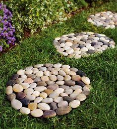 Indoor/Outdoor Multicolored River Rock Stepping Stones (DIY instead??)