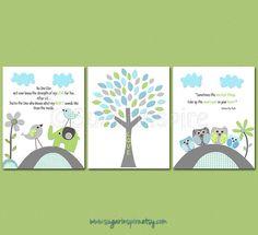 Aqua grey and green Nursery Art Print Set Kids by SugarInspire, $39.95