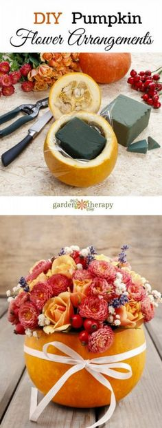 Check out how to make an easy DIY pumpkin flower arrangement for Thanksgiving decor @istandarddesign