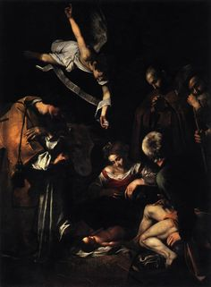 """lyghtmylife: """" CARAVAGGIO [Italian Baroque Era Painter, ca.1571-1610] Nativity with St Francis and St Lawrence 1609 Oil on canvas, 268 x 197 cm Formerly in Oratorio di San Lorenzo, Palermo """""""