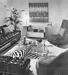 1960s Living Room 1960s Living Room, 1960s Decor, Animal Print Rug, Vintage Inspired, Rooms, Interiors, Inspiration, Home Decor, Bedrooms