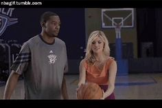 Kevin Durant swatting a Basketball away from Kate Upton.