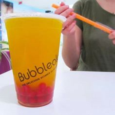 Bubbleology at Mirage shopping center.  Mango with strawberry bubbles. :)