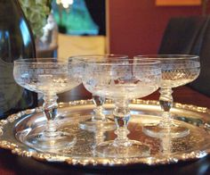 Gorgeous Vintage Etched Crystal Champagne Coupe by HouseofLucien