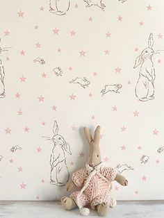 Rabbit All Star Wallpaper with Pink Stars - Thanksgiving Wallpaper Baby Wallpaper, Baby Girl Nursery Wallpaper, Childrens Bedroom Wallpaper, Rabbit Wallpaper, Star Wallpaper, Pattern Wallpaper, Bunny Nursery, Bathroom Wallpaper, Kindergarten Wallpaper