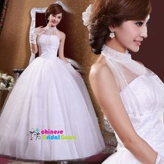 Style 8059, Excellent Organza Ball Gown High Collar Chinese Wedding Dress by CBG.