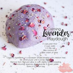 """Calming Lavender Playdough Here's the recipe for our Taste Safe Playdough - it is SO soft &…"""