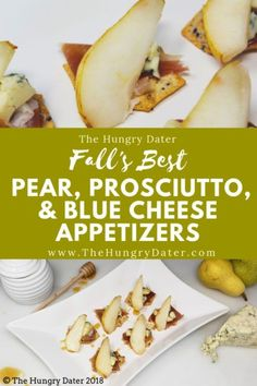 Pear, Prosciutto, and Blue Cheese Bite Appetizers - Cheese Appetizers, Best Appetizers, Appetizer Recipes, Great Recipes, Healthy Recipes, Amazing Recipes, Yummy Recipes, Recipe Ideas, Cookie Recipes