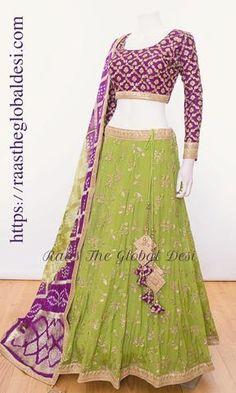 A-Line Wedding Dresses Collections Overview 36 Gorgeou… Half Saree Lehenga, Lehnga Dress, Lehenga Choli Online, Indian Lehenga, Banarasi Lehenga, Green Lehenga, Lehenga Skirt, Lengha Choli, Lehenga Blouse