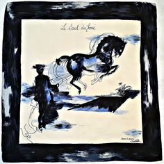 "VINTAGE JEANNE LANVIN CASTILLO ABSTRACT ART DRESSAGE BLUE SILK 30""SQUARE SCARF #JeanneLanvin #Scarf"