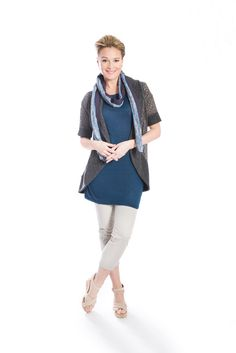 Layered look: grey eyelet and tweed knit short sleeved cardigan, teal cobalt blue linen jersey knit tunic and blue cotton tweed and purple plisse long skinny scarf by Jennifer Fukushima.