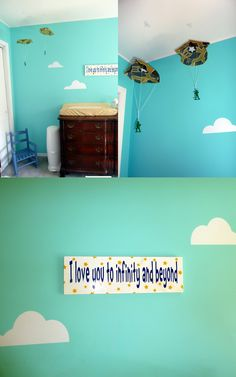 Andy's room - need to find a few of these as a 'mobile' sorta think over coltons toddler bed Pixar Nursery, Toy Story Nursery, Toy Story Bedroom, Disney Nursery, Bedroom Themes, Nursery Themes, Bedroom Ideas, Nursery Ideas, Baby Bedroom