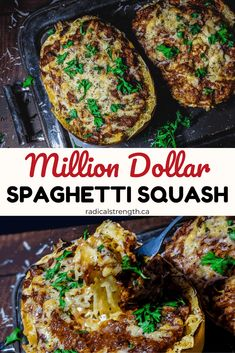 The Best million dollar spaghetti squash recipe. Easy baked spaghetti squash recipe, perfect for low carb diets or just those looking to add more nutrition. Naturally gluten free, higher in fiber, and Easy Baked Spaghetti, Baked Spaghetti Squash, Low Carb Spaghetti Squash Recipe, Best Spaghetti Recipe, Chicken Spaghetti, Diet Recipes, Vegetarian Recipes, Cooking Recipes, Healthy Recipes