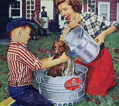 family, pets, and vintage image Roger Wilkerson dog wash 1957 1950s fifties 50s fun times throwback retro magazine photoshoot models model modeling summer summertime wiener happy