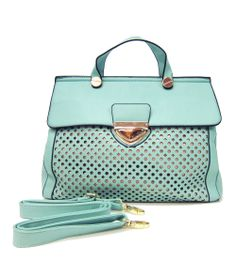 Lovely mint color to update your spring look. Meghan Perforated Satchel for your spring to-go tote.