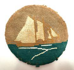 Grenfell Labrador Industries Silk Stocking Hooked Mat, Antique,Sailing Ship Weaving,Newfoundland, Ca Nautical Artwork, Silk Stockings, Newfoundland And Labrador, Weaving Projects, Rug Hooking, Early Childhood, Handicraft, Sailing Ships, Folk Art