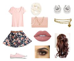 """""""A day in Paris"""" by heyitsanjo on Polyvore featuring H&M, Karl Lagerfeld, Echo, Converse, Lime Crime and Chanel"""