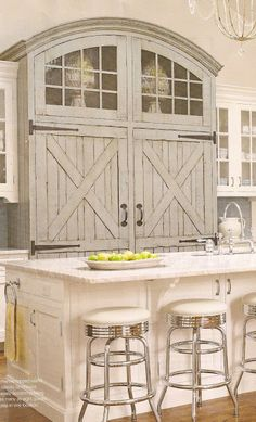 'barn door' refrigerators. LOL, might just be taking the barn style of my home a tad too far! Or we could just embrace it???