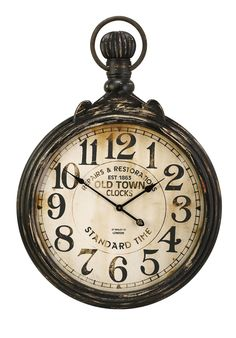 Wall Clocks - Oversized wall clock inspired by the styling of an antique men's pocket watch. Clock face has an antique finish and metal frame is finished with an aged metal patina 27664