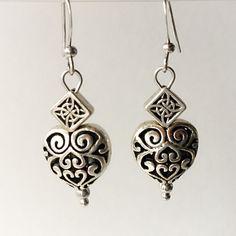 Diamond Heart Earrings by VexedUpBoutique on Etsy Heart Earrings, Drop Earrings, Jewelry Design, Unique Jewelry, Wire Art, Chainmaille, Diamond Heart, Semi Precious Gemstones, Czech Glass