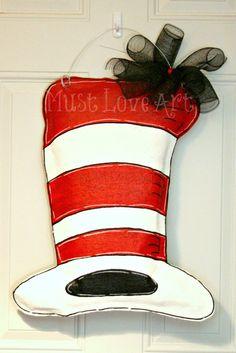 Dr. Seuss Hat Burlap Door Hanger Decoration Cat in the Hat via Etsy