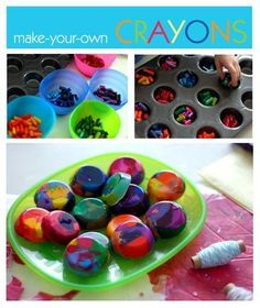 """cut crayons into small pieces and make them sort the colours they want and use a small muffin tray for it place in oven then cool. Make these into """"pig noses"""" for Peppa Pig party??"""