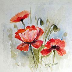 Papavers, aquarel van bloemen
