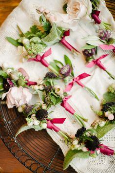 #Fall Wedding Boutonnieres | See the wedding on SMP: http://www.StyleMePretty.com/texas-weddings/austin/2014/02/05/autumn-wedding-at-barr-mansion/ Christine Sargologos Photography