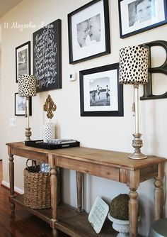 Gallery Wall with custom lamp shades.