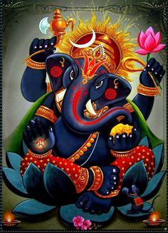 Make this Ganesha Chathurthi 2020 special with rituals and ceremonies. Lord Ganesha is a powerful god that removes Hurdles, grants Wealth, Knowledge & Wisdom. Shri Ganesh, Arte Ganesha, Krishna Art, Lord Ganesha, Lord Shiva, Durga, Hanuman, Indian Gods, Indian Art