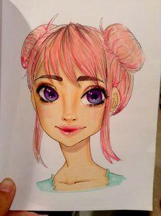 Colored Harajuku Fashion Illustration Face, Harajuku, Faces, Princess Zelda, Drawing, Fictional Characters, Color, Art, Art Background