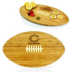 The Chicago Bears Kickoff is the party platter and serving tray made especially for avid NFL football fans. Its simple yet distinctive design features inlaid white bamboo to mimic the laces of a footb