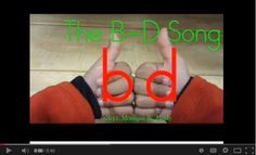 The B-D Song! This song offers the best strategy if your children are struggling to learn the difference between letters b and d!  Repinned by  SOS Inc. Resources  http://pinterest.com/sostherapy.