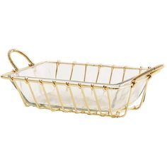 Shiny Gold Wire And Glass Soap Dish