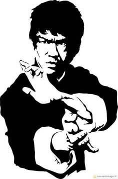 Black and white photography of Bruce Lee practicing a stance belonging... → ConvertImage.ME