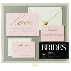 Trousse d'invitations « Love » avec aluminium doré Brides, rose clair