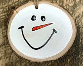 Whimsical Painted Snowman Face Ornament / Decoration