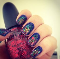 cool blue nails